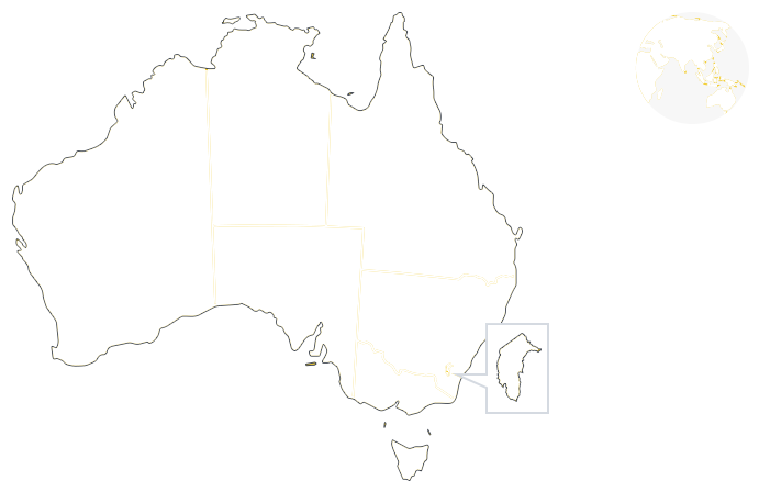 Yellow map of Australia outlining the 6 states and 2 territories and a map of the world.